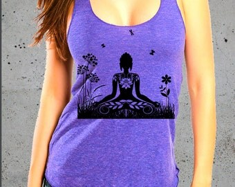 Yoga Clothes,Yoga Tank Top,Peace.Relax.Meditating Yoga Women.Eco Friendly.Yoga Clothes.American Apparel Tshirt ( Multiple Colors Available)