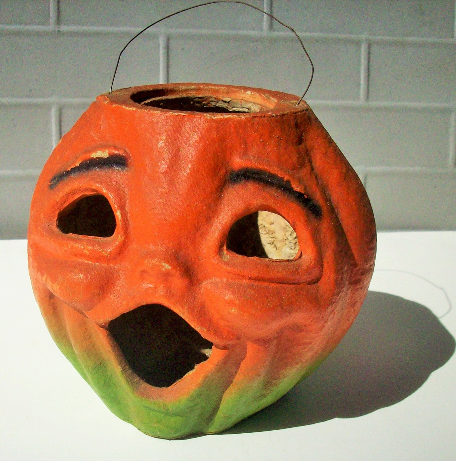 Vintage halloween large jack o 39 lantern antique for Papier mache lanterns