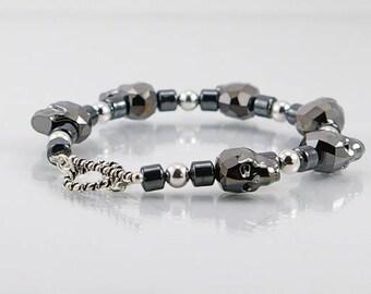 FREE shipping!  DELUXE tribal SKULL bracelet, mens bracelet, men jewelry, biker bracelet, skull bracelet, gift for him, deluxe bracelet