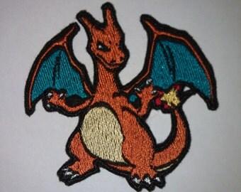Charizard - Iron on patch - Shiny Metallic Embroidered.   Pokemon patch.