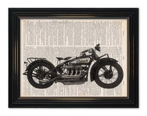 Vintage Indian motorcycle dictionary art print - Classic Motorcycle Art. A vintage dictionary page print and great gift - 8x10 inch