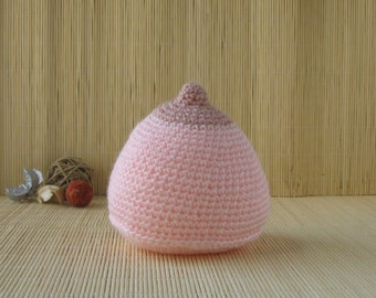 Pink Crochet Breast, Handmade Boob, Antenatal Teaching Aid, Breast-feeding Aid