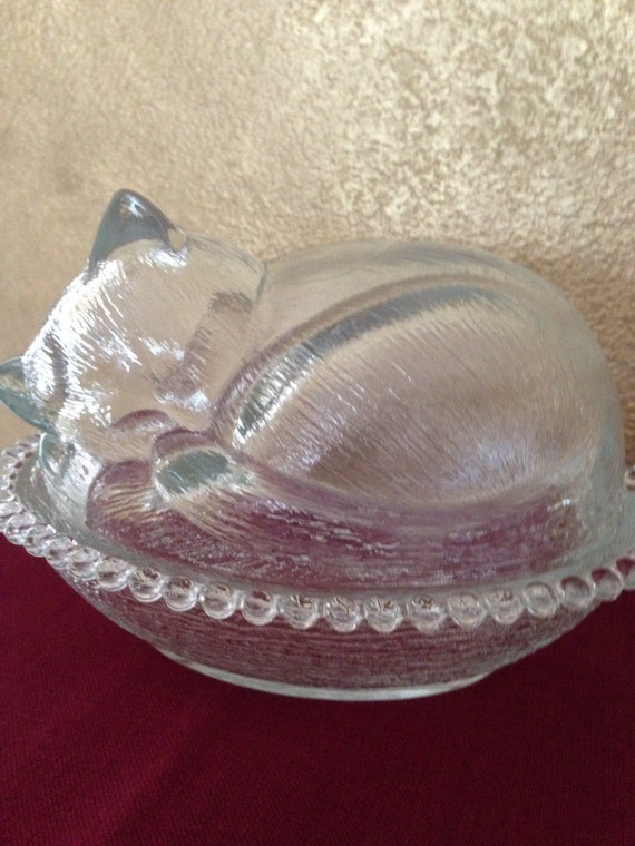 Vintage Glass Covered Cat Candy Dishcat On By