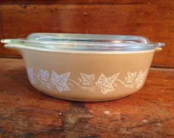 Vintage Pyrex Sandalwood Casserole Dish with Lid