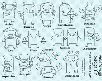 Kawaii Zodiac unmounted Rubber Stamps by Starving Artistamps