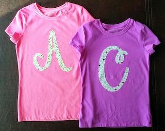 Girls Initial Shirt, boys initial shirt, toddler initial shirt, girls Age Shirt, boys age shirt, toddler age shirt, girls birthday shirt