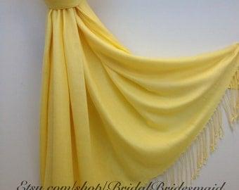 PALE YELLOW PASHMINA - First Communion Scarf - Yellow Sunday Scarf - Spring Scarf - Yellow Wedding Scarf - Pashmina Yellow - Easter Shawl