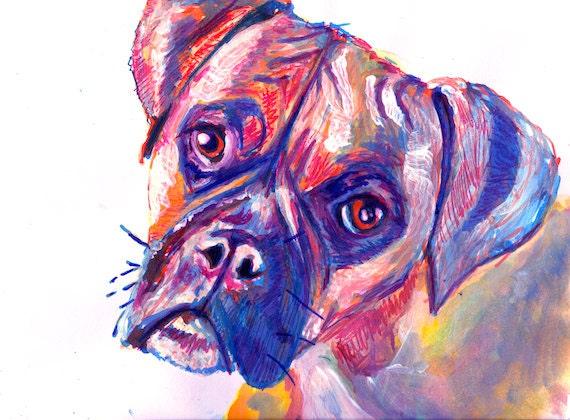 Boxer Dog Painting Art Print Dark Blue Tones Unique Boxer Dog
