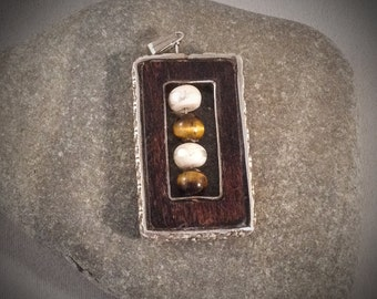 Funky rectagular pendant with wood, tiger's eye, faux pearls and sterling silver