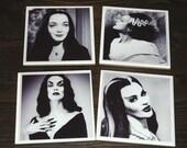 Women of Horror Ceramic Coasters Set of 4 Black and White Halloween Gothic Decor