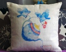 Butterflies and flowers pillow cover, butterfly pillow cover