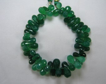 Green Onyx Drops Briolette Beads