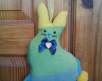 Hand made recycled Green, Blue and yellow check fabric Easter Bunny Rabbit hanging decoration