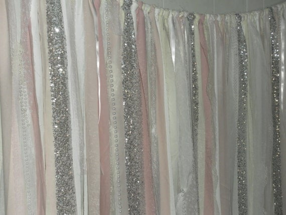 ... White and Ivory Luxe Ribbon Backdrop- Photo Prop- Curtain-TREND alert