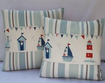 Beach Huts cushion/Nautical Pillow Cover/Stripy pillow/Seaside cushion/Blue pillow/12x12/14x14/16x16/Maritime cushion/Clarke&Clarke pillow