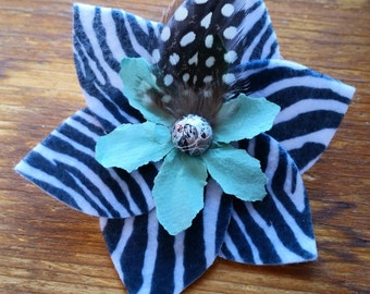 Chic Zebra Feathered Hair Clip