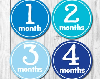 Baby Monthly Stickers, Boy Milestone, Boy Month Stickers