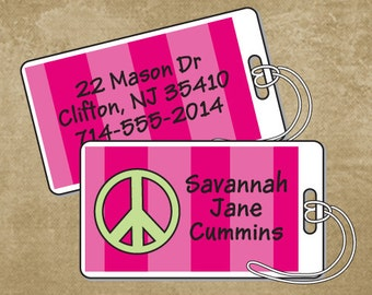 Personalized luggage tags for camp, school, daycare, daycamp, Peace sign, pink stripes, luggage wraps, laminated tags