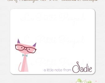 Cat Notecards - Children's Note Cards - 10 Personalized Note Cards - Thank Yous - Kitty Design - kids notecards