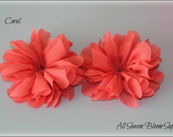 Ballerina Flowers, Coral, Fabric Flowers, Tutu Flowers, Wholesale, Chiffon Flower, DIY