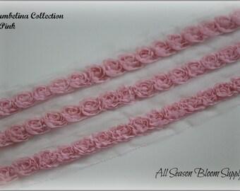 "1/2"" Mini Shabby rose trim, Thumbelina Collection, Pink, Shabby flower, Shabby trim, Chiffon flower, Shabby chic."