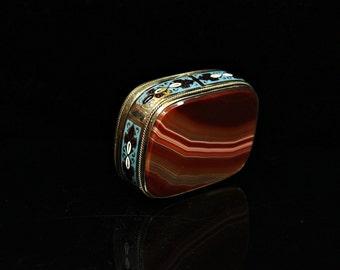 Antique original silver enamel agate box