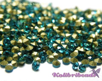 100x Grade A Glass Rhinestone Chatons 1.9 mm - Aquamarine (light blue)