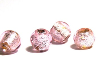 8x Round Silver Foil Glass Beads 8mm - Rose