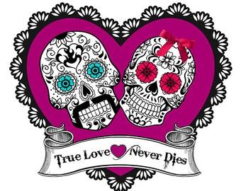 Sugar Skull Wedding 8x10 Art Picture Print wedding Day of the dead True Love Never Dies Purple colorful sugar skull download