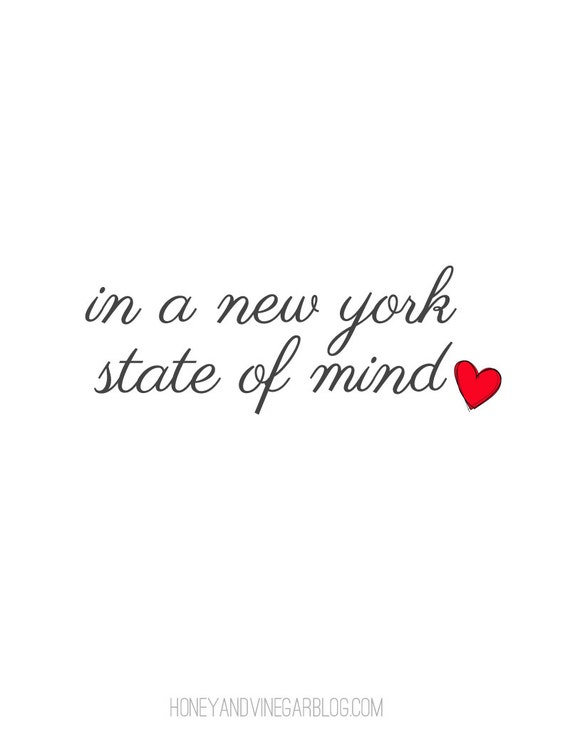 INSTANT DOWNLOAD Printable Typography Print, NYC State of Mind, Home and Wall Decor