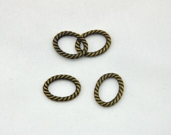 Twisted suspension loop -30pcs  Ancient bronze Oval twisted lines Charm Pendants--- 12*16mm --Q0048