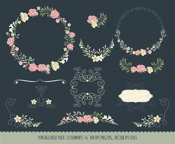Vintage Wedding invitation floral wreath clipart ...