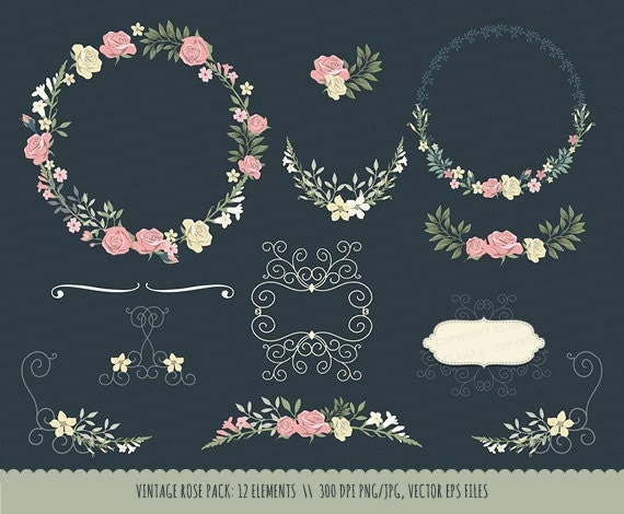 Vintage Wedding Invitation Floral Wreath Clipart Collection Rose Chalkboard Hand Drawn Wreaths