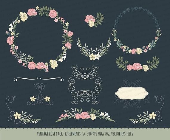 Vector Wedding Invitations: Vintage Wedding Invitation Floral Wreath By LisaGlanzGraphics