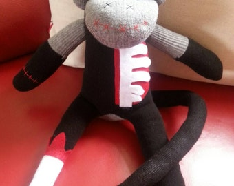 Large black and grey Zombie sock monkey