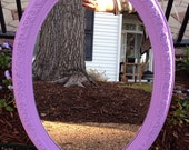 Hand-Painted Light Purple (grape taffy) Oval Mirror (Item RESERVED for Leah- applemyfruitbat)