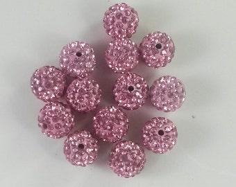 30  12mm  Light Pink  Color  Rhinestone Shamballa Beads Disco Balls Beads  Shamballa Jewelry  Shamballa Bracelet
