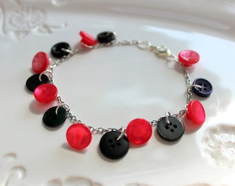 Cute As A Button Bracelet - Pink and Black