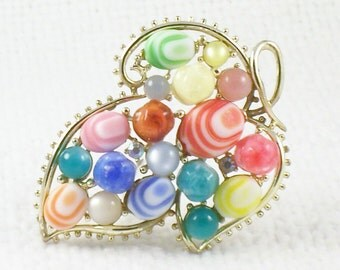 Vintage 60's Colorful Leaf Pin Brooch with Pebble Glass Beads and Lucite Beads