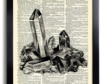 Rhinestone Crystal Art Print Vintage Book Print Recycled Vintage Dictionary Page Collage Repurposed Book Upcycled Dictionary 258