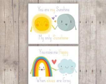 Printable Nursery Decor Set of 2- My Sunshine, Happy Skies- Instant Download