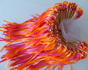 20 rods 2 ribbons with bells orange and Fuchsia for a beautiful hedge of honor wedding
