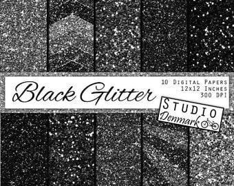 Black Glitter Digital Paper - Black Sparkle Chunky Glitter Chevron - Black / Silver Metallic Shine - 12in x 12in - Instant Download