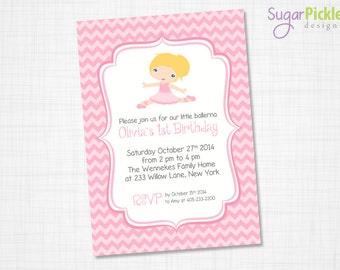 Ballet Birthday Invitation, Ballet Party Invitation, Party Invite, Ballet Invitation, Personalized Invitation, Girls Birthday