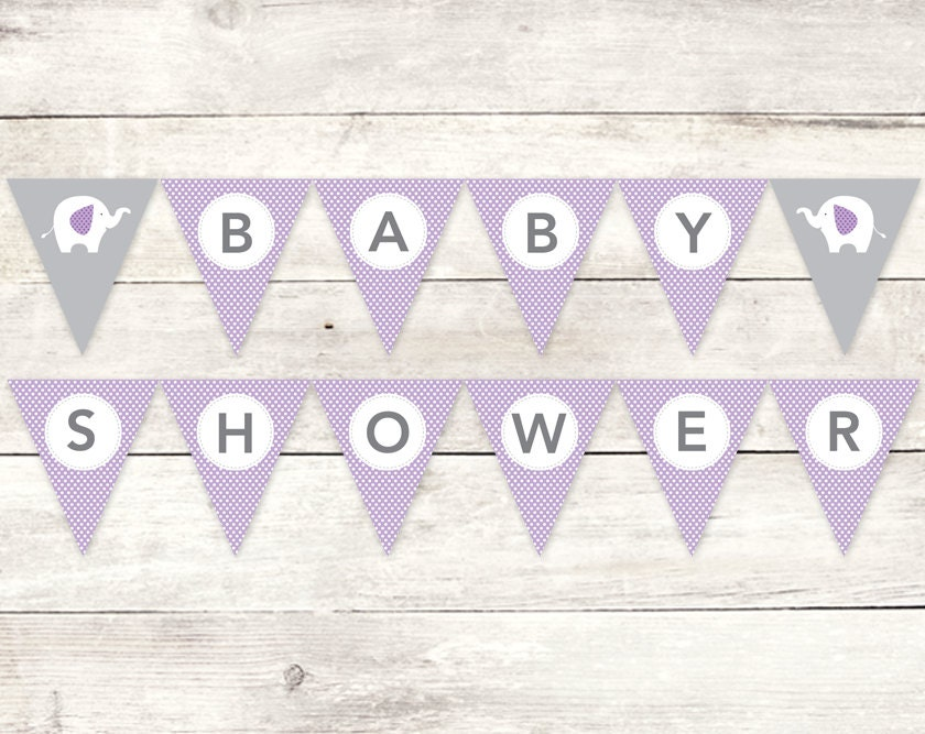 Baby shower banner printable diy bunting banner elephant Baby shower banners
