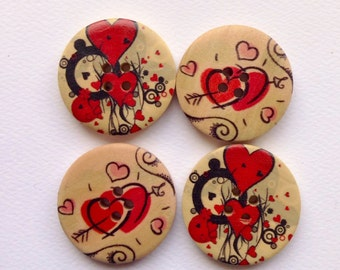 Four wooden buttons - hearts