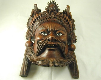 Carved Chinese Mask Character From Romance of the Three Kingdoms 1636.1 Grams