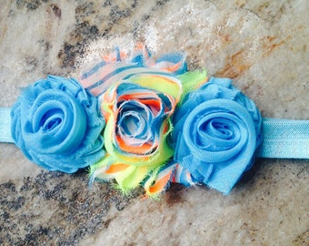 Blue and neon headband- child size