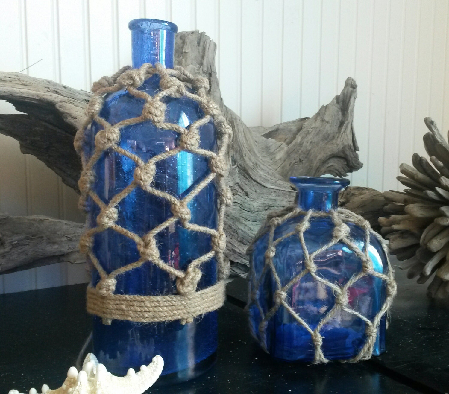Set Of 2 Cobalt Blue Glass Rope Vases Nautical By