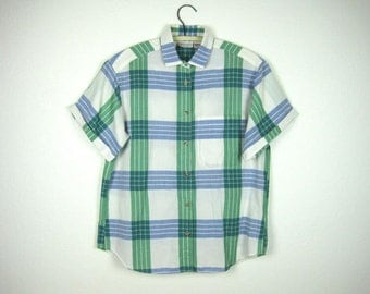 Plaid Short Sleeve Shirt Women's Green White Blue Medium 8 Button Down